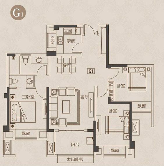 3室2厅2卫105平米现代简约