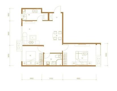 2室2厅1卫82平米现代简约