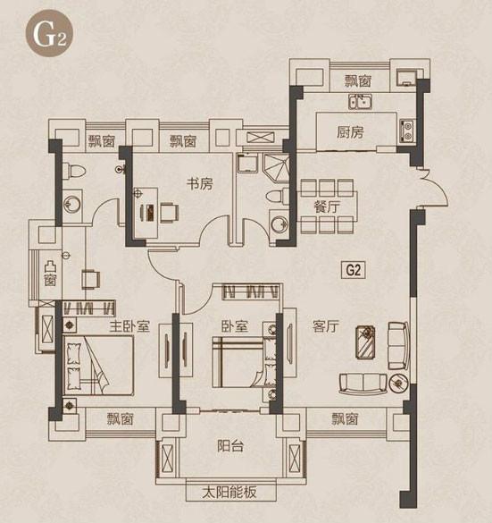 3室2厅2卫117平米现代简约